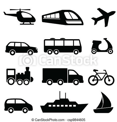 Transportation icons in black - csp9844605