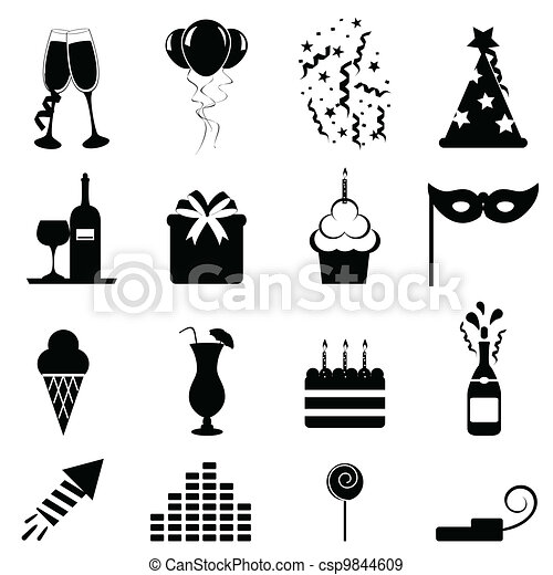 Party and celebration icons - csp9844609