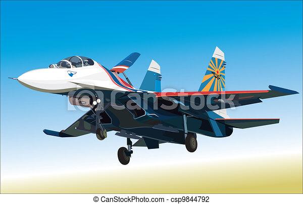 Air fighter landing - csp9844792