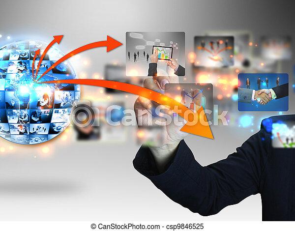 Businessman press business collection  - csp9846525