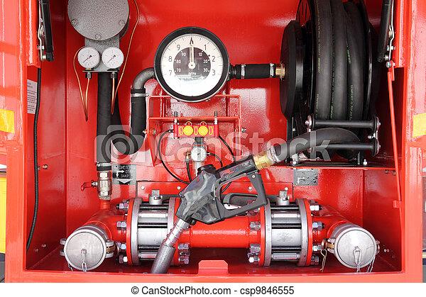 dashboard of mobile gasoline bowser - csp9846555