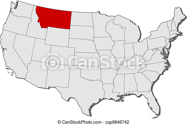 Map of the United States, Montana highlighted - csp9846742