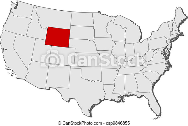 Map of the United States, Wyoming highlighted - csp9846855