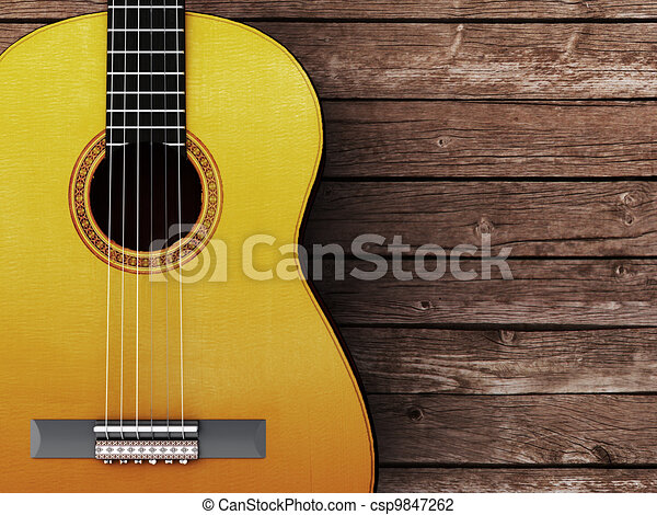 Acoustic guitar on wood background - csp9847262