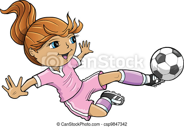 Sports Summer Soccer Girl Vector  - csp9847342