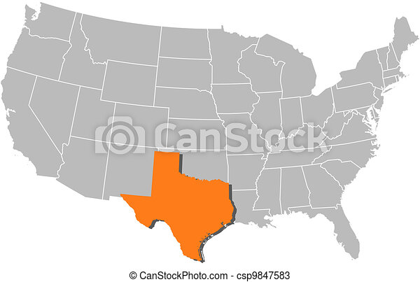 Map of the United States, Texas highlighted - csp9847583