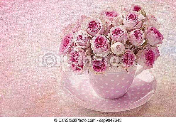 Pink vintage rose - csp9847643