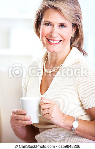 Senior woman with a cup of tea. - csp9848206