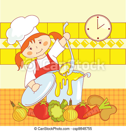 Clipart vettoriali di Cuoco, poco, ragazza - poco, ragazza ...