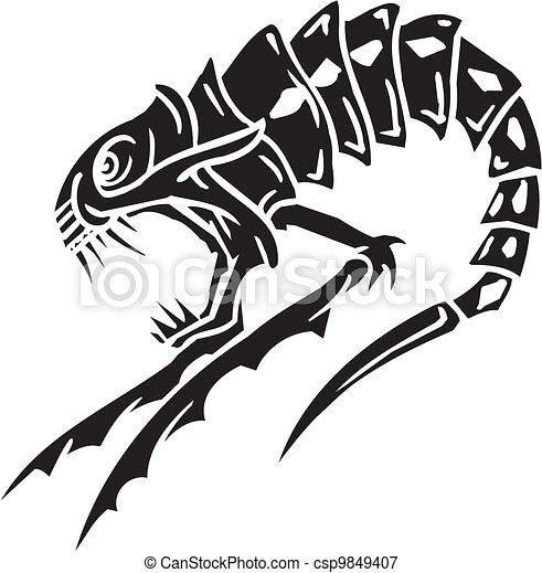 Sea Monster - vector illustration. Vinyl-ready. - csp9849407