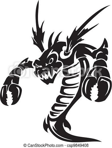 Sea Monster - vector illustration. Vinyl-ready. - csp9849408