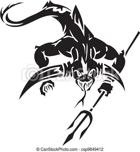 Sea Monster - vector illustration. Vinyl-ready. - csp9849412