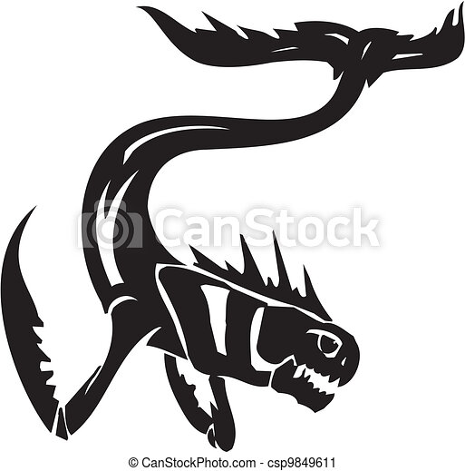 Sea Monster - vector illustration. Vinyl-ready. - csp9849611