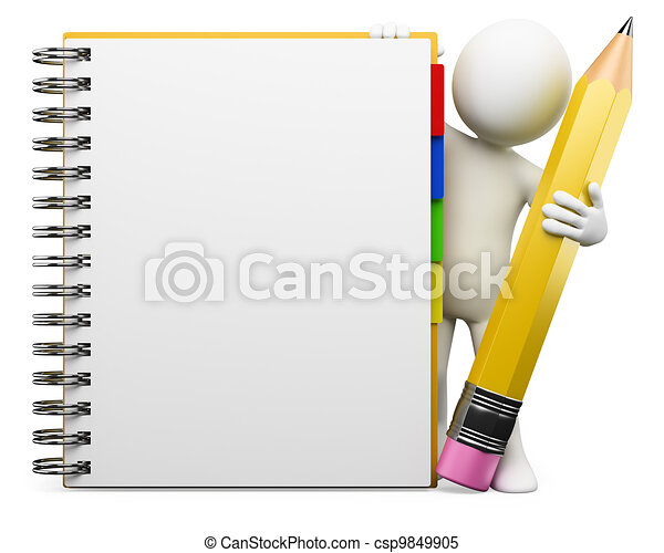 3D white people. Notepad - csp9849905