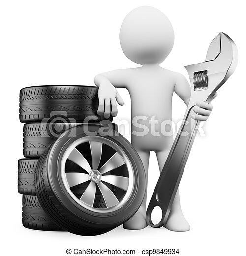 3D white people. Car mechanic - csp9849934