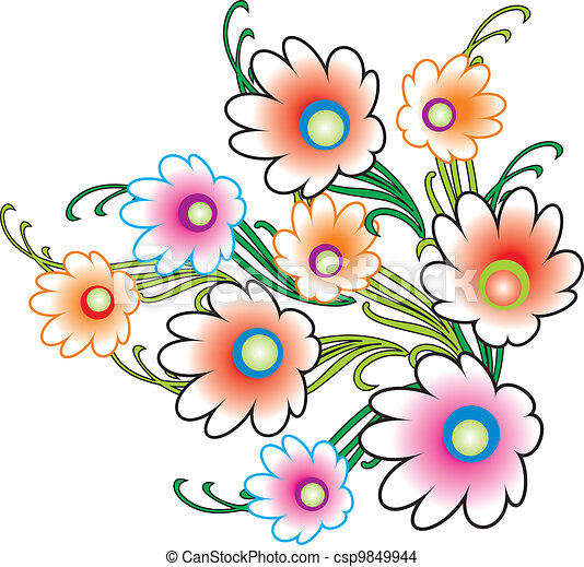 Bunch Of Flowers Drawing Galleryhipcom The Hippest