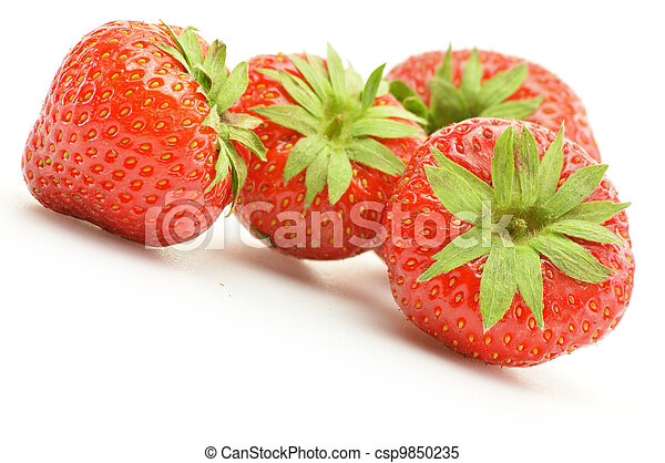 Fresh strawberries isolated on white - csp9850235