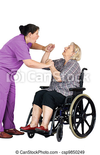 Nurse assaulting senior woman in wheelchair - csp9850249