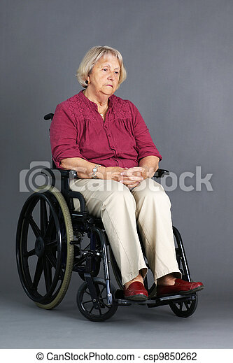 Sad senior woman in wheelchair - csp9850262