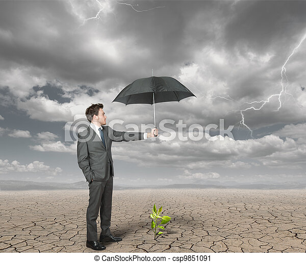 Businessman helps agriculture - csp9851091