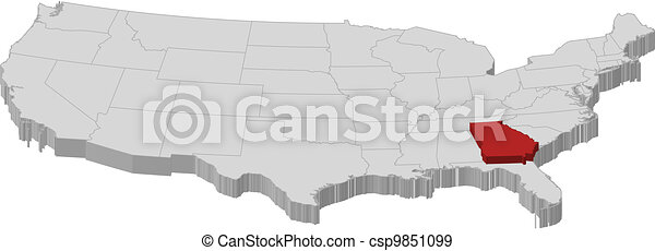 Map of the United States, Georgia highlighted - csp9851099