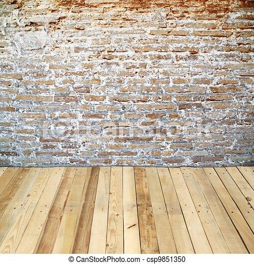 Banco de ilustra o tijolo parede madeira ch o for Sala de estar 3x5