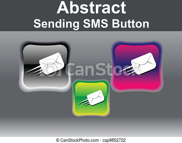 abstract glossy sending mail icon - csp9852722