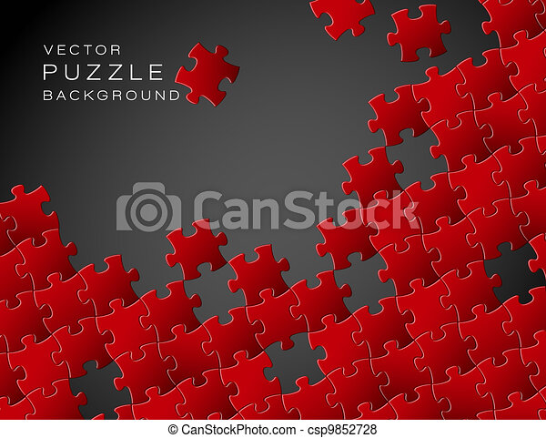 Vector background made from red puzzle pieces - csp9852728