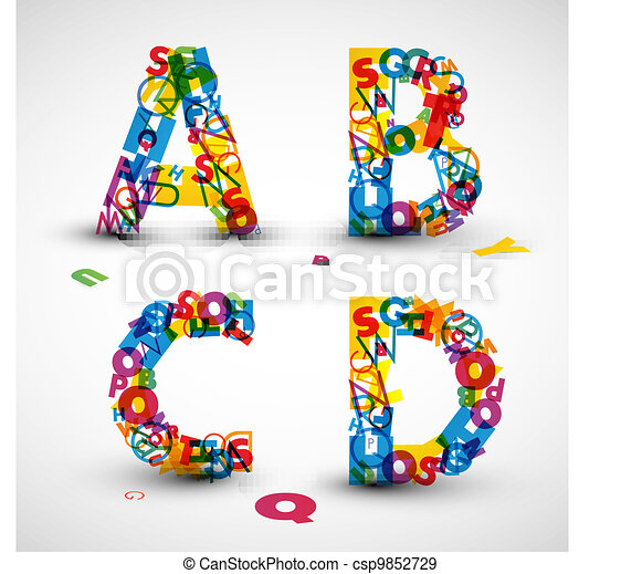 Vector font made from letters of the alphabet - csp9852729