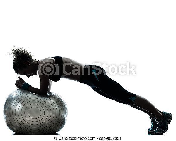 woman exercising fitness ball workout - csp9852851