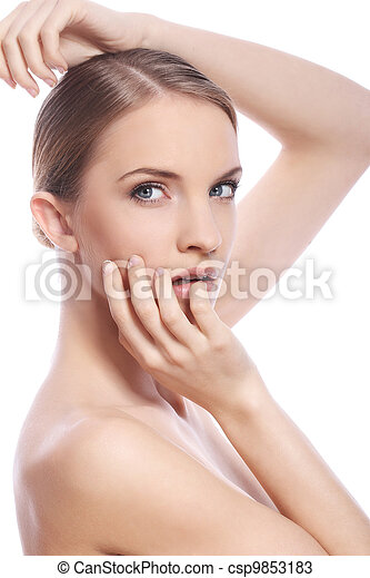 Beautiful woman with clean face over white background - csp9853183