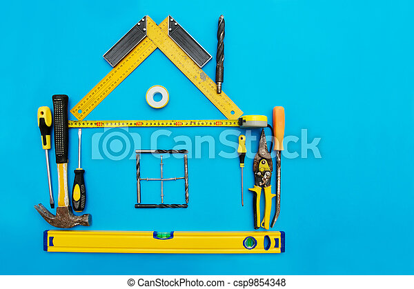 Tools in the shape of house - csp9854348