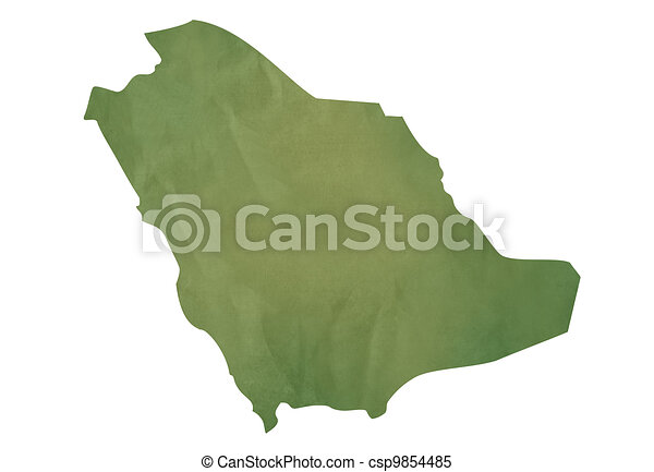 Old green map of Saudi Arabia - csp9854485