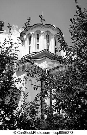 Black and white church - csp9855273