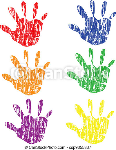 Colored grunge vintage hands vector - csp9855337