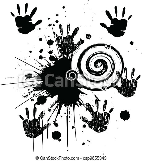 Hands and ink grunge style vector - csp9855343
