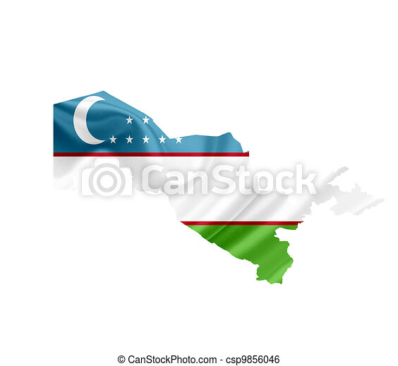Map of Uzbekistan with waving flag isolated on white - csp9856046