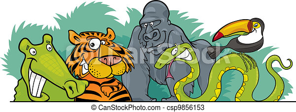 Cartoon Jungle wild animals design - csp9856153