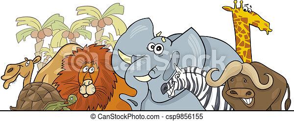 Cartoon African Safari wild animals design - csp9856155