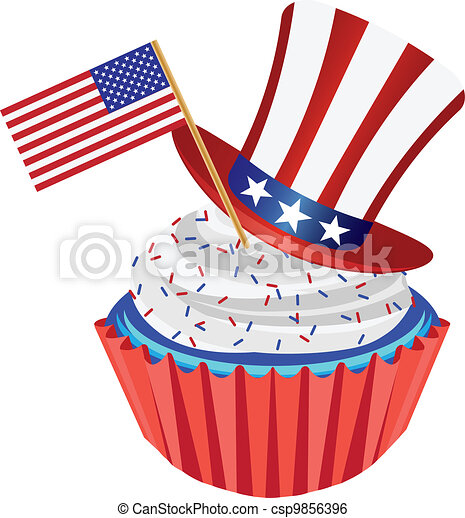 4th of July Cupcake with Flag and Hat Illustration - csp9856396