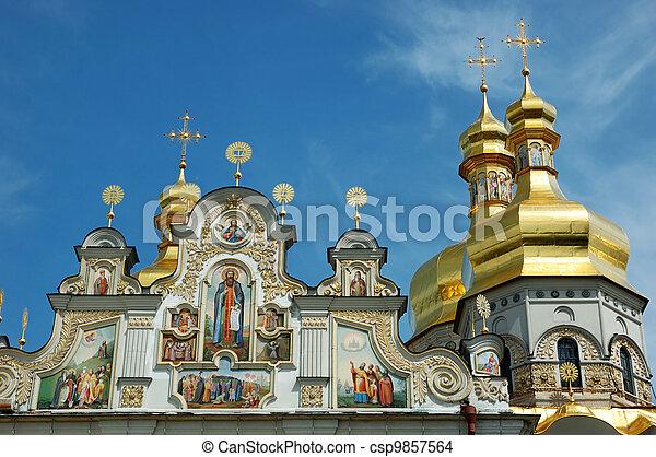 Domes of Kiev Pechersk Lavra Orthodox monastery , Ukraine - csp9857564