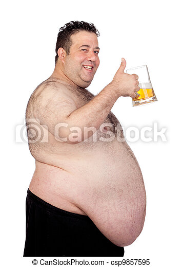 Fat man drinking a jar of beer - csp9857595