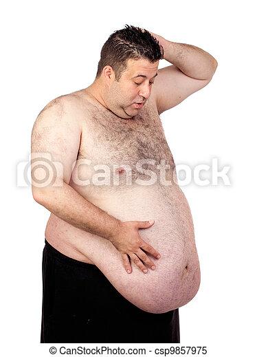 Surprised fat man - csp9857975