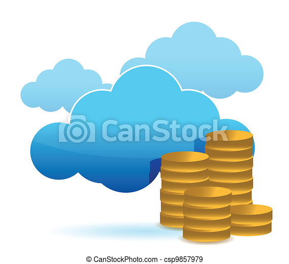 cloud and coins illustration design - csp9857979
