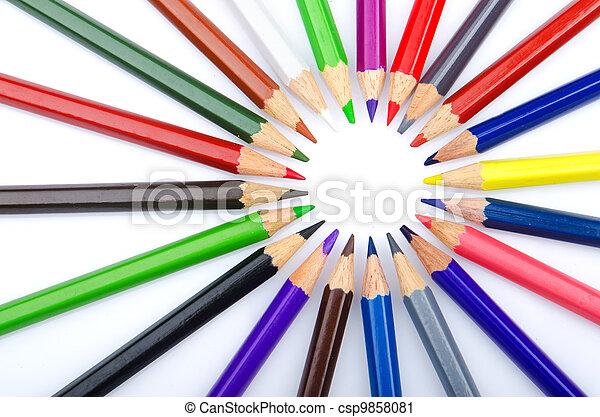 Colour pencils in creativity concept - csp9858081