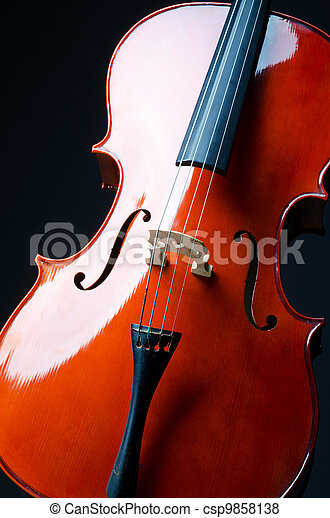 Music concept- close up of cello - csp9858138