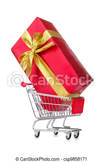 Giftbox and shopping cart on white - csp9858171