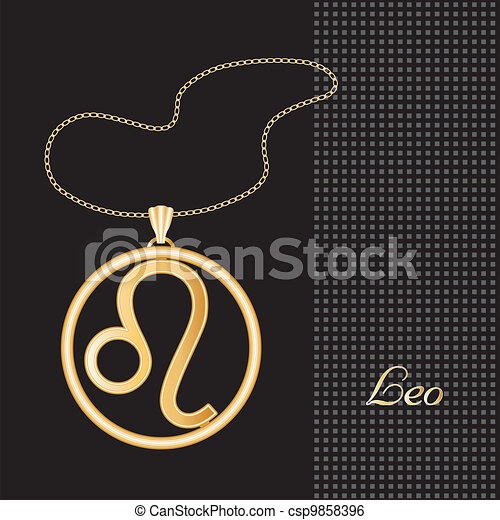 Leo Gold Necklace - csp9858396