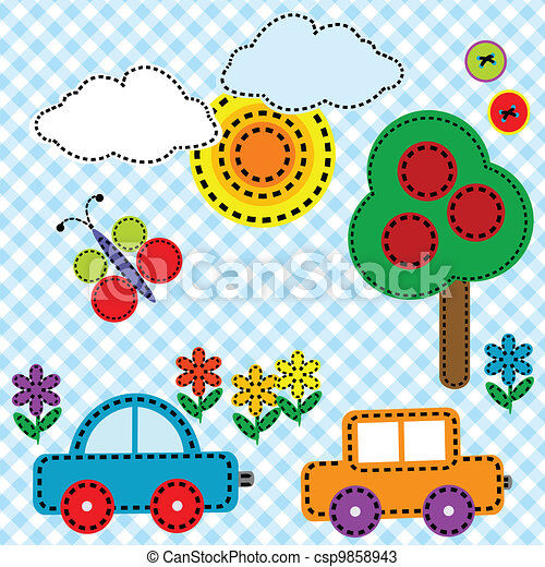 Sewing background fabric for kids - csp9858943