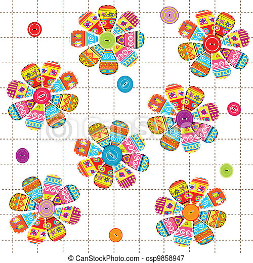 Seamless pattern with flowers with ethnic motifs - csp9858947